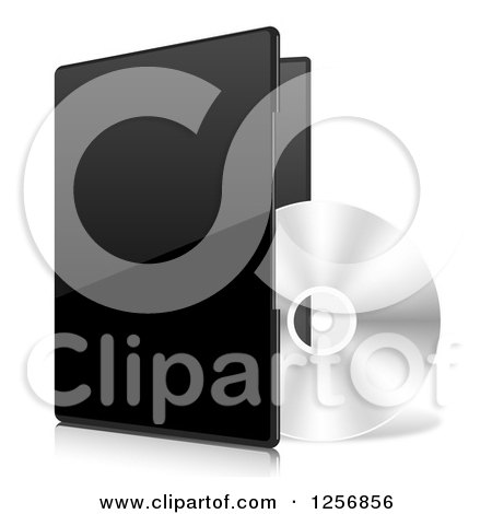 Clipart of a 3d CD and Black Software Package - Royalty Free Vector Illustration by vectorace