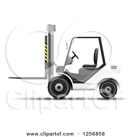 Clipart of a 3d White Forklift Machine - Royalty Free Vector Illustration by vectorace