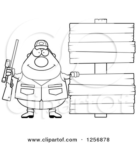 Clipart of a Black and White Chubby Male Hunter with Wood Signs - Royalty Free Vector Illustration by Cory Thoman