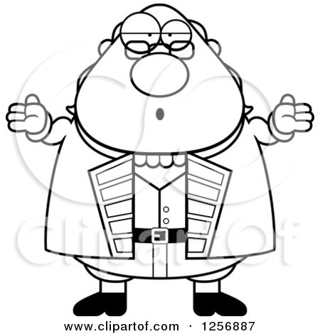 Clipart of a Black and White Careless Shrugging Chubby Benjamin Franklin - Royalty Free Vector Illustration by Cory Thoman