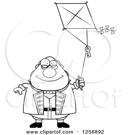 Clipart of a Black and White Chubby Benjamin Franklin Flying a Kite - Royalty Free Vector Illustration by Cory Thoman