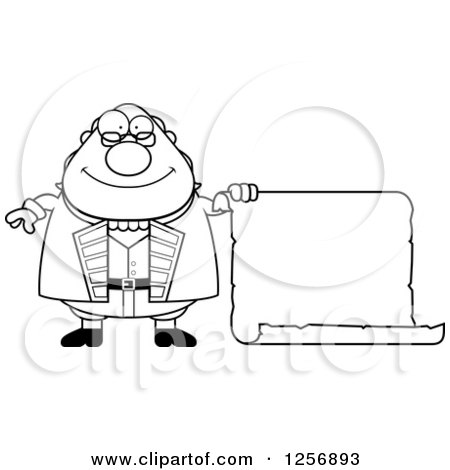 Clipart of a Black and White Chubby Benjamin Franklin with a Scroll - Royalty Free Vector Illustration by Cory Thoman