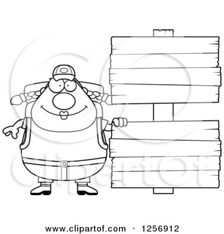 Clipart Of A Black And White Chubby Hiker Woman With Camping Gear By Wood Signs