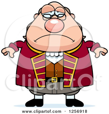 Clipart of a Sad Depressed Chubby Benjamin Franklin - Royalty Free Vector Illustration by Cory Thoman