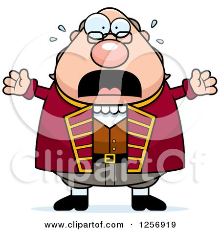 Clipart of a Scared Screaming Chubby Benjamin Franklin - Royalty Free Vector Illustration by Cory Thoman