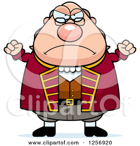 Clipart of a Mad Chubby Benjamin Franklin Waving His Fists - Royalty Free Vector Illustration by Cory Thoman