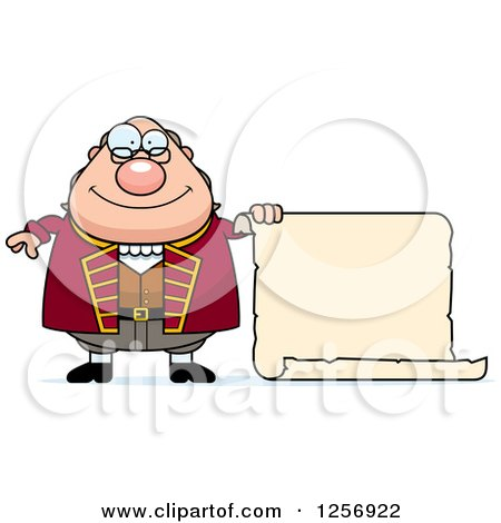 Clipart of a Chubby Benjamin Franklin with a Scroll - Royalty Free Vector Illustration by Cory Thoman