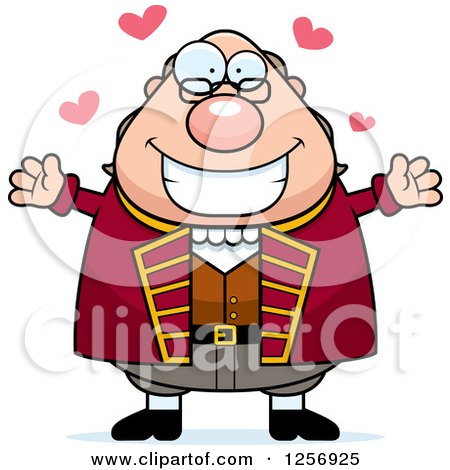 Clipart of a Chubby Benjamin Franklin with Open Arms and Hearts - Royalty Free Vector Illustration by Cory Thoman