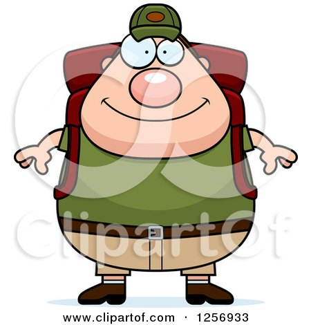 Clipart of a Chubby Caucasian Hiker Man with Camping Gear - Royalty Free Vector Illustration by Cory Thoman