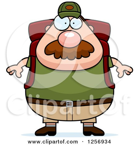 Clipart of a Chubby Caucasian Hiker Man with a Mustache and Camping Gear - Royalty Free Vector Illustration by Cory Thoman
