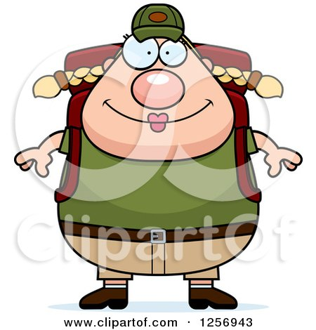 Chubby Caucasian Hiker Woman with Camping Gear Posters, Art Prints