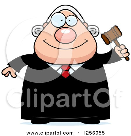 Clipart of a Happy Chubby Caucasian Male Judge Holding a Gavel - Royalty Free Vector Illustration by Cory Thoman