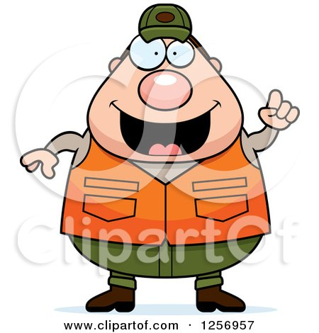 Clipart of a Chubby Caucasian Male Hunter with an Idea - Royalty Free Vector Illustration by Cory Thoman