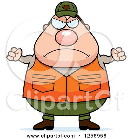 Clipart of a Mad Chubby Caucasian Male Hunter Waving Fists - Royalty Free Vector Illustration by Cory Thoman