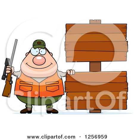 Clipart of a Chubby Caucasian Male Hunter with Wood Signs - Royalty Free Vector Illustration by Cory Thoman