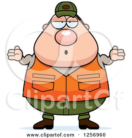 Clipart of a Careless Shrugging Chubby Caucasian Male Hunter - Royalty Free Vector Illustration by Cory Thoman