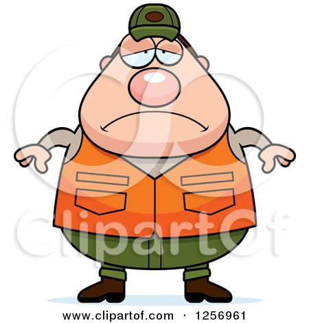 Clipart of a Sad Depressed Chubby Caucasian Male Hunter - Royalty Free Vector Illustration by Cory Thoman