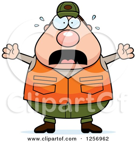 Clipart of a Scared Screaming Chubby Caucasian Male Hunter - Royalty Free Vector Illustration by Cory Thoman