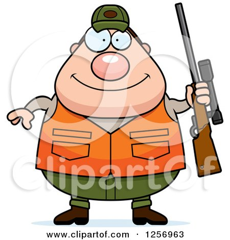 Clipart of a Chubby Caucasian Male Hunter Holding a Rifle - Royalty Free Vector Illustration by Cory Thoman