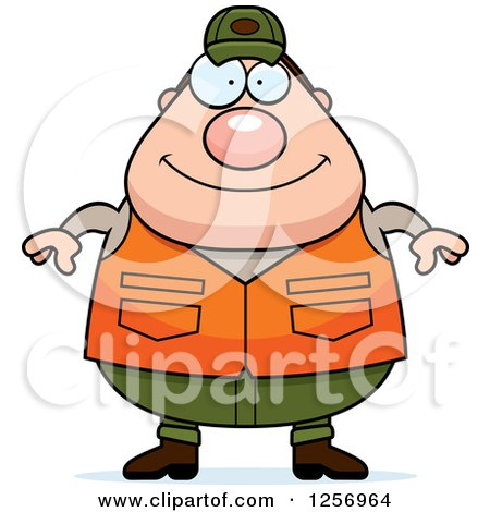 Clipart of a Chubby Caucasian Male Hunter - Royalty Free Vector Illustration by Cory Thoman