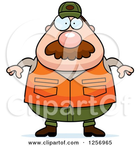 Clipart of a Chubby Caucasian Male Hunter with a Mustache - Royalty Free Vector Illustration by Cory Thoman