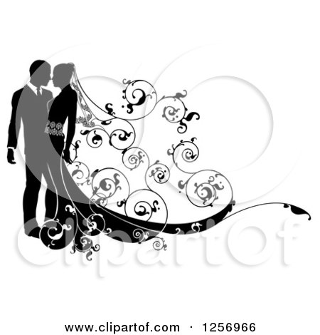 Clipart of a Black and White Silhouetted Wedding Couple with a Swirl Floral Train - Royalty Free Vector Illustration by AtStockIllustration