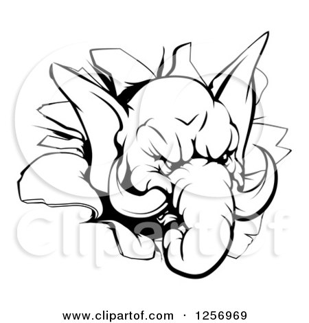 Clipart of a Black and White Aggressive Elephant Breaking Through a Wall - Royalty Free Vector Illustration by AtStockIllustration