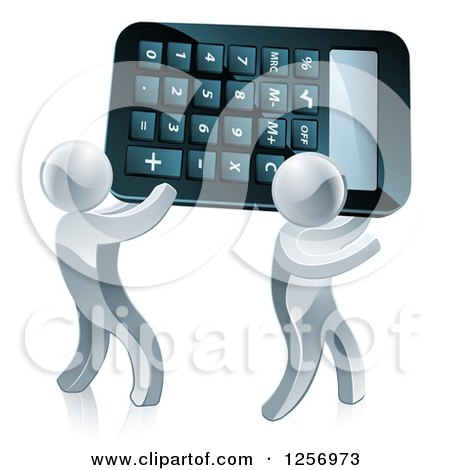 Clipart of Two 3d Silver Men Carrying a Calculator - Royalty Free Vector Illustration by AtStockIllustration
