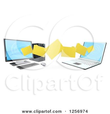 3d Desktop and Laptop Computer Transfering Files for Backups Posters, Art Prints