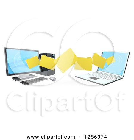Clipart of a 3d Desktop and Laptop Computer Transfering Files for Backups - Royalty Free Vector Illustration by AtStockIllustration