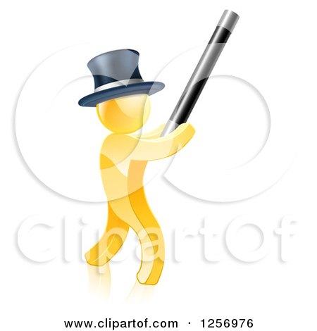 Clipart of a 3d Gold Magic Man Holding up a Wand - Royalty Free Vector Illustration by AtStockIllustration