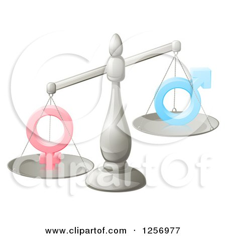 Clipart of a 3d Silver Scale Balancing Gender Inequality Symbols - Royalty Free Vector Illustration by AtStockIllustration