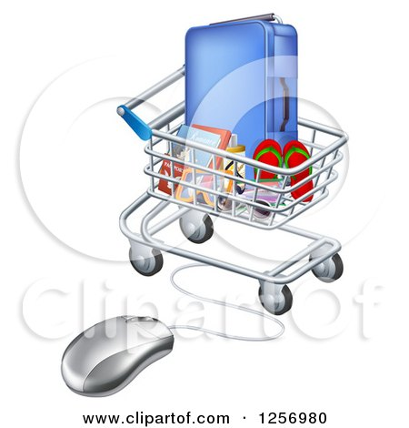 Clipart of a 3d Computer Mouse Connected to a Shopping Cart Full of Luggage and Travel Items - Royalty Free Vector Illustration by AtStockIllustration