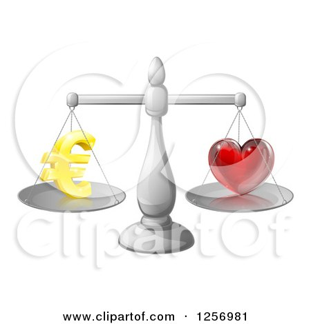 Clipart of 3d Silver Scales Balancing Euros and Love - Royalty Free Vector Illustration by AtStockIllustration