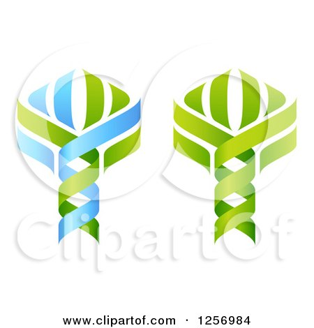 Clipart of Green and Blue Dna Double Helix Tree Designs - Royalty Free Vector Illustration by AtStockIllustration