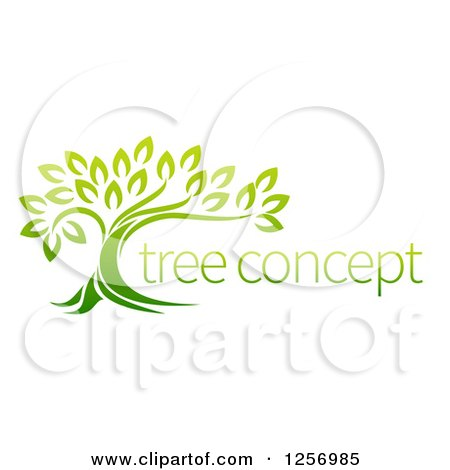 Clipart of a Green Tree and Concept Text - Royalty Free Vector Illustration by AtStockIllustration