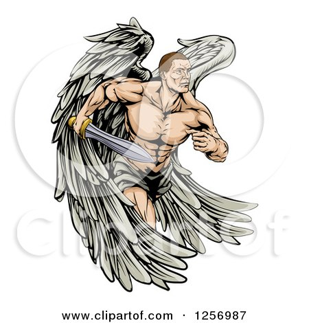 Clipart of a Muscular Warrior Angel Running with a Sword - Royalty Free Vector Illustration by AtStockIllustration