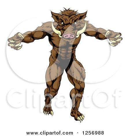 Clipart of a Muscular Aggressive Boar Man Mascot Attacking - Royalty Free Vector Illustration by AtStockIllustration