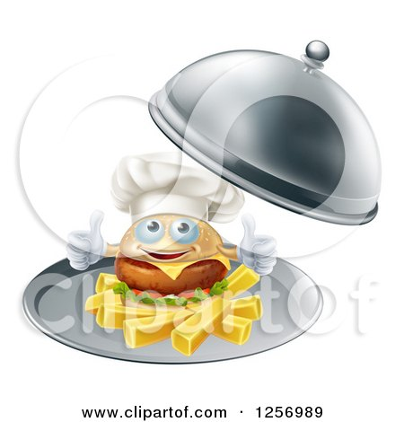 Clipart of a Happy Cheeseburger Chef Holding Two Thumbs up on French Fries in a Platter - Royalty Free Vector Illustration by AtStockIllustration