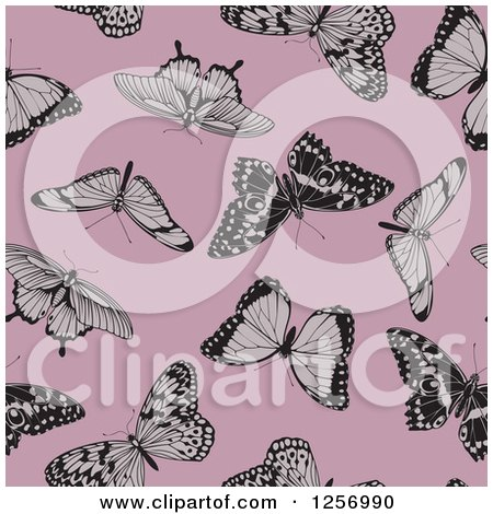 Clipart of a Seamless Background Pattern of Butterflies on Pink - Royalty Free Vector Illustration by AtStockIllustration