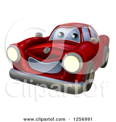 Clipart of a Cartoon Happy Red Vintage Convertible Car - Royalty Free Vector Illustration by AtStockIllustration