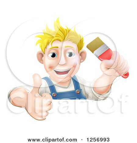 Clipart of a Happy Blond Male Caucasian Painter Holding a Paintbrush and Thumb up over a Sign - Royalty Free Vector Illustration by AtStockIllustration