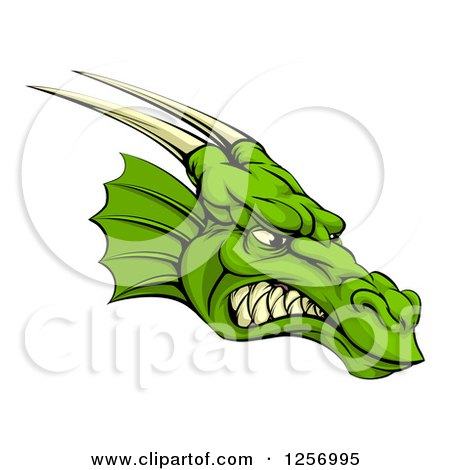 Clipart of a Snarling Green Horned Dragon Face - Royalty Free Vector Illustration by AtStockIllustration