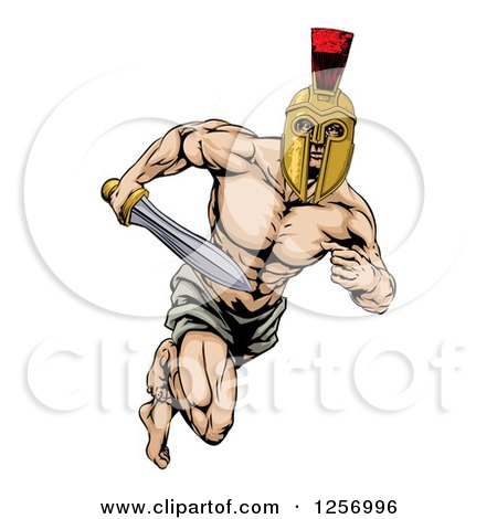 Clipart of a Muscular Gladiator in a Helmet Running with a Sword - Royalty Free Vector Illustration by AtStockIllustration