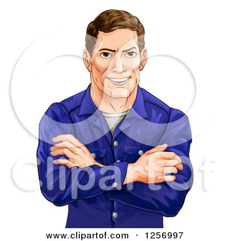Clipart of a Happy Caucasian Man with Folded Arms - Royalty Free Vector Illustration by AtStockIllustration