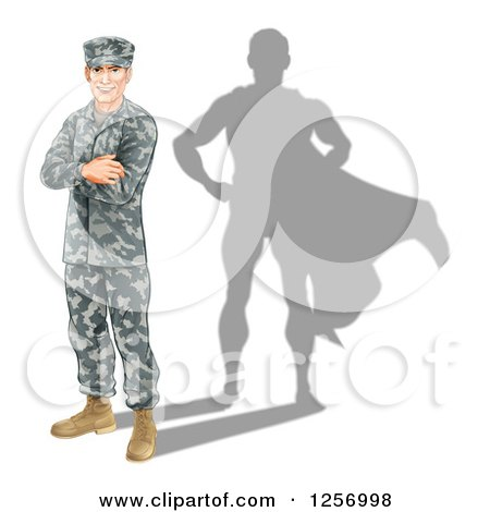 Clipart of a Caucasian Male Soldier with Folded Arms and a Super Hero Shadow - Royalty Free Vector Illustration by AtStockIllustration