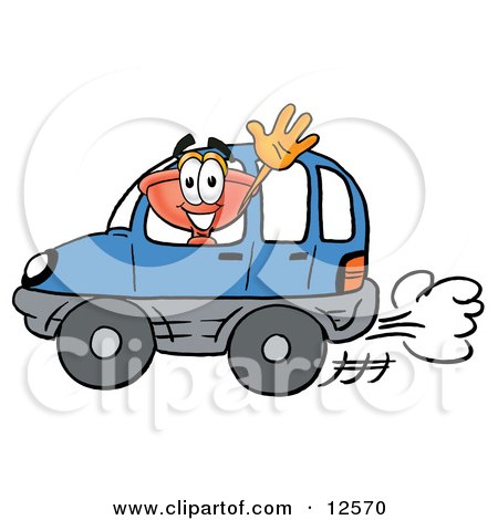 Clipart Picture of a Sink Plunger Mascot Cartoon Character Driving a Blue Car and Waving by Toons4Biz