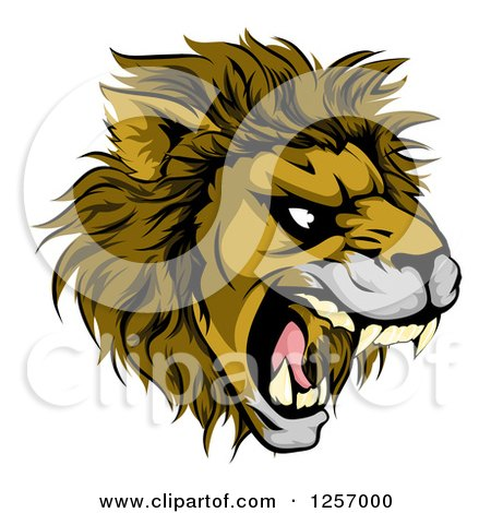 Clipart Of An Aggressive Male Lion Roaring Mascot Royalty Free Vector Illustration