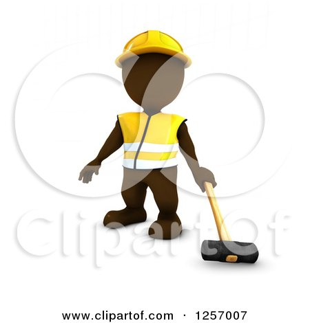 Clipart of a 3d Brown Man Worker with a Sledgehammer - Royalty Free Illustration by KJ Pargeter