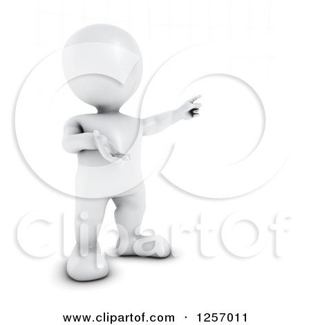 Clipart of a 3d White Man Pointing - Royalty Free Illustration by KJ Pargeter